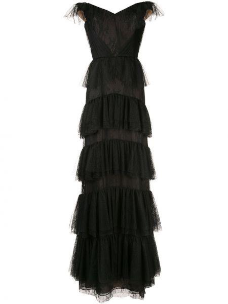Черное платье на молнии с открытыми плечами с декоративной отделкой Marchesa Notte