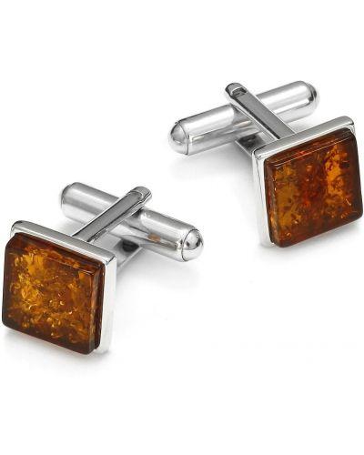 Pomarańczowe spinki do mankietów z bursztynem srebrne Ditta Zimmermann