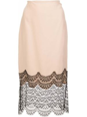 Розовая с завышенной талией юбка миди в рубчик на молнии Kiki De Montparnasse