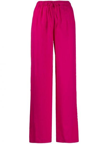 Прямые розовые брюки эластичные 120% Lino