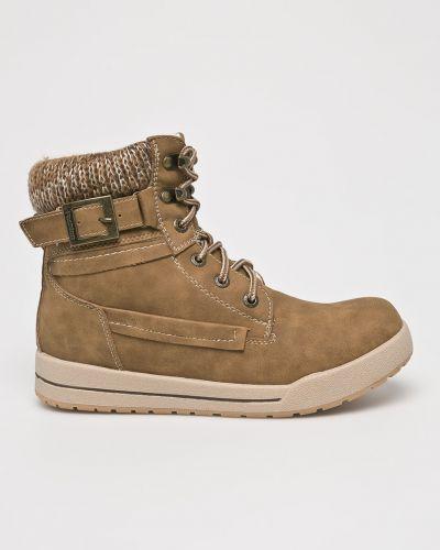 Ботинки на каблуке - коричневые American Club