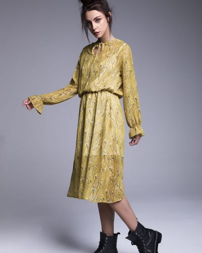 Расклешенное желтое платье миди с поясом Naoko