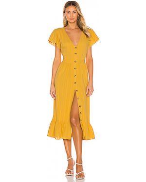 Платье миди с вышивкой на пуговицах The Jetset Diaries