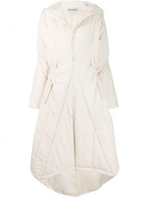Пальто с капюшоном айвори винтажное на молнии с карманами Issey Miyake Pre-owned