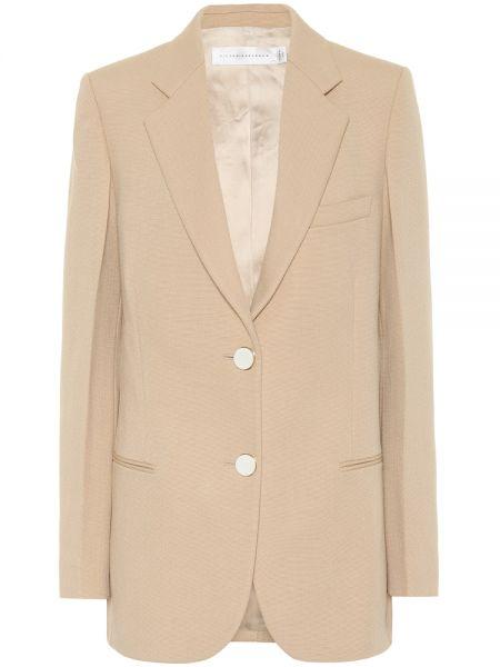 Пиджак бежевый шерстяной Victoria Beckham