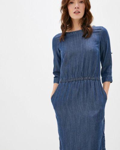 Синее свободное расклешенное джинсовое платье Finn Flare