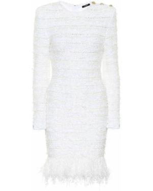 Однобортное льняное платье мини на кнопках Balmain