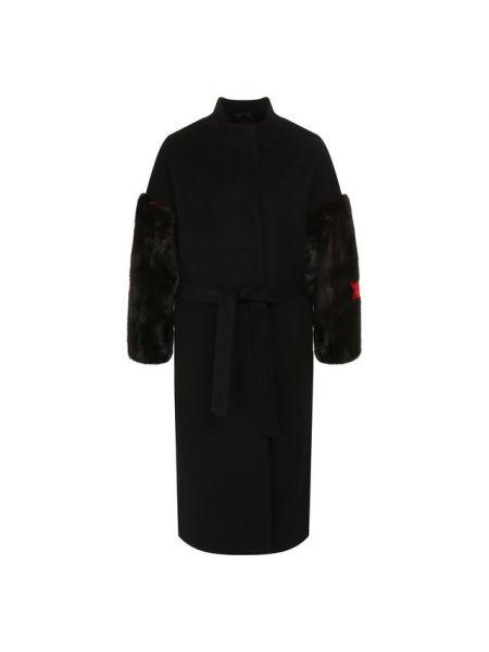 Черное однобортное шерстяное пальто с поясом Ava Adore