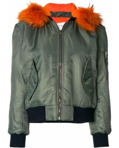 Куртка с капюшоном с енотом зеленая Forte Couture