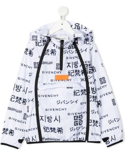 Czarny płaszcz przeciwdeszczowy z długimi rękawami z printem Givenchy Kids
