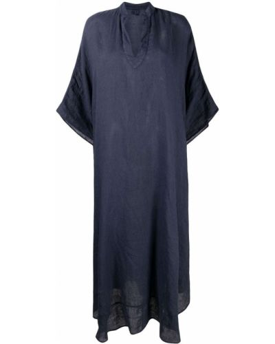 Расклешенное льняное синее платье 120% Lino