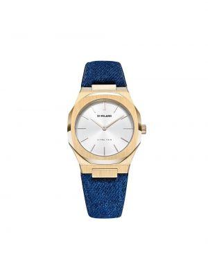 Кожаные часы золотые круглые D1 Milano