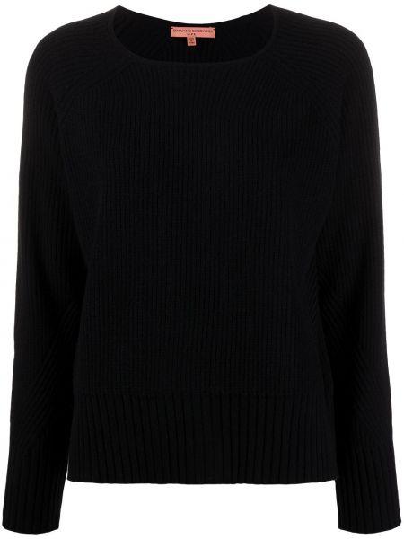 Кашемировый черный свитер в рубчик с круглым вырезом Ermanno Scervino