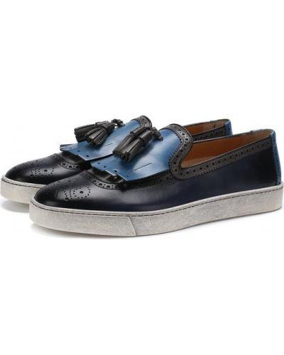 Слипоны синий кожаные Santoni