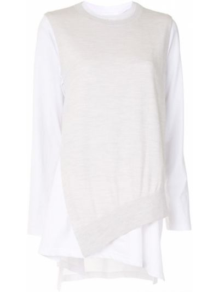 Biały bawełna bawełna sweter z długimi rękawami Enfold