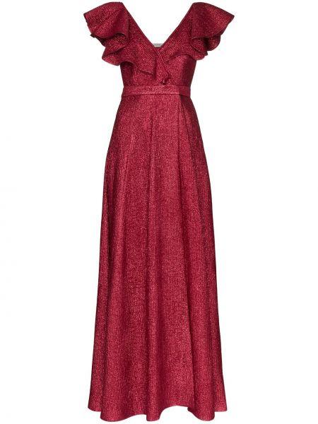 Шелковое платье макси с запахом с V-образным вырезом на молнии Vika Gazinskaya