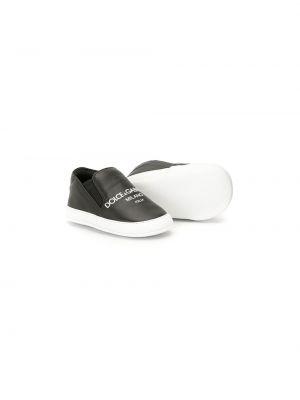 Кожаные черные слипоны без застежки Dolce & Gabbana Kids