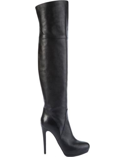Ботфорты на каблуке кожаные черные Left&right