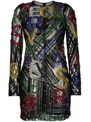 Черное платье мини с пайетками с вырезом на молнии Versace Pre-owned