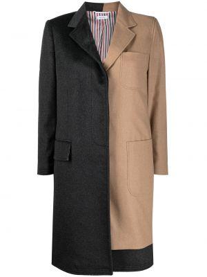 Серое пальто до колена Thom Browne