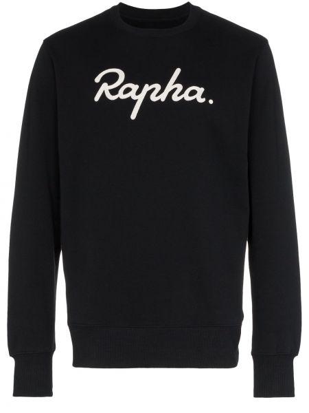 Czarna bluza z haftem z długimi rękawami Rapha