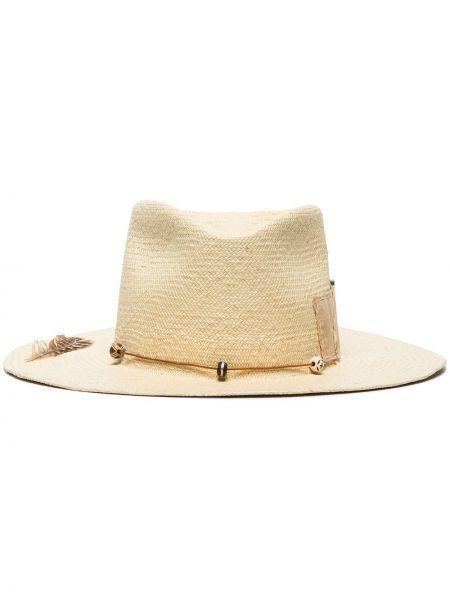 Соломенная белая шляпа соломенная пэчворк в бусинах Nick Fouquet