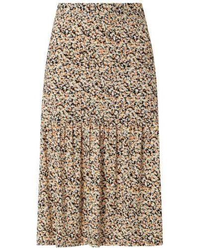 Czarna spódnica midi rozkloszowana z falbanami Moss Copenhagen