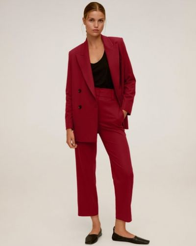 Длинные красные с защипами брюки из вискозы Mango
