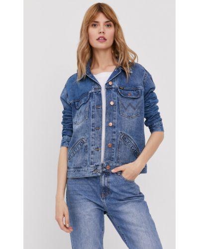 Niebieska kurtka jeansowa bawełniana zapinane na guziki Wrangler