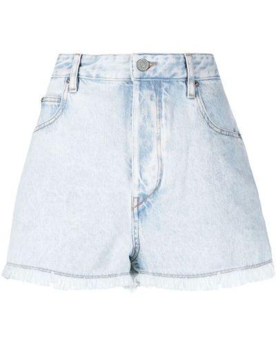 Хлопковые с завышенной талией джинсовые шорты с бахромой Isabel Marant étoile