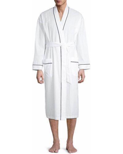 Biały szlafrok bawełniany z długimi rękawami Majestic International