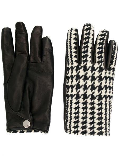 Ciepłe czarne rękawiczki skorzane Alexander Mcqueen