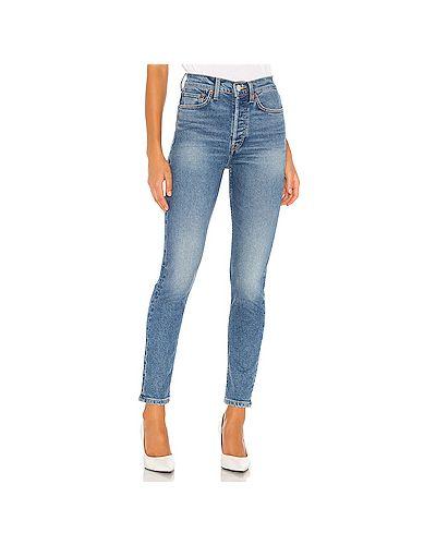 Хлопковые синие джинсы-скинни на пуговицах скинни Re/done