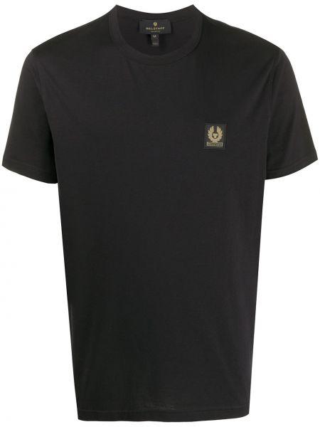 Bawełna prosto czarny koszula krótkie z krótkim rękawem z łatami Belstaff