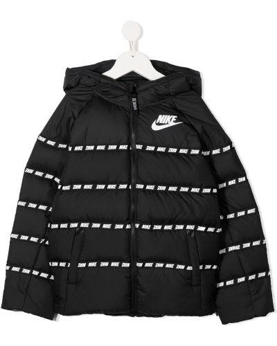 Черный пуховик с капюшоном в полоску Nike Kids