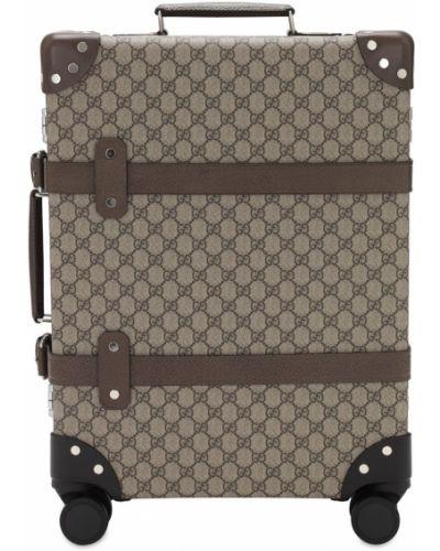 Beżowa walizka skórzana z paskiem Gucci