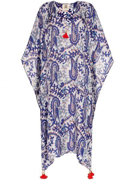 Шелковое платье мини с V-образным вырезом в морском стиле на молнии Figue