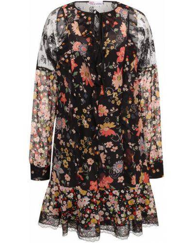 Платье мини с цветочным принтом с длинными рукавами с оборками Redvalentino