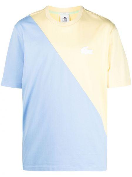 Niebieski t-shirt krótki rękaw bawełniany Lacoste Live