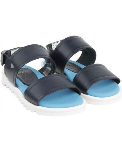 Синие пляжные кожаные сандалии Armani Junior