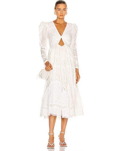 Хлопковое белое платье макси с подкладкой Hemant And Nandita