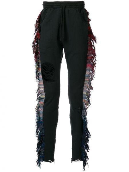 Czarne spodnie bawełniane z frędzlami Alchemist