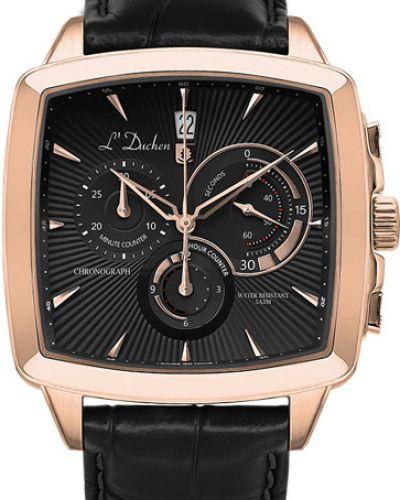 Часы водонепроницаемые с кожаным ремешком швейцарские L Duchen