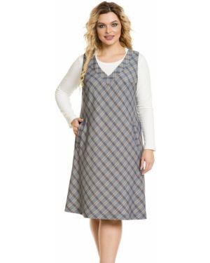 Платье с V-образным вырезом с рисунком на молнии с карманами Novita