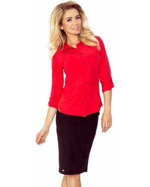 Czerwona koszula z wiskozy do pracy Morimia