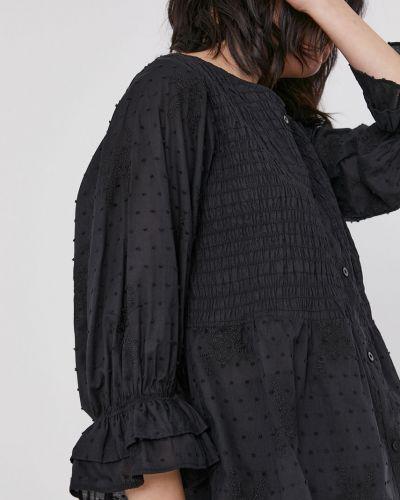 Czarna bluzka z falbanami bawełniana Medicine