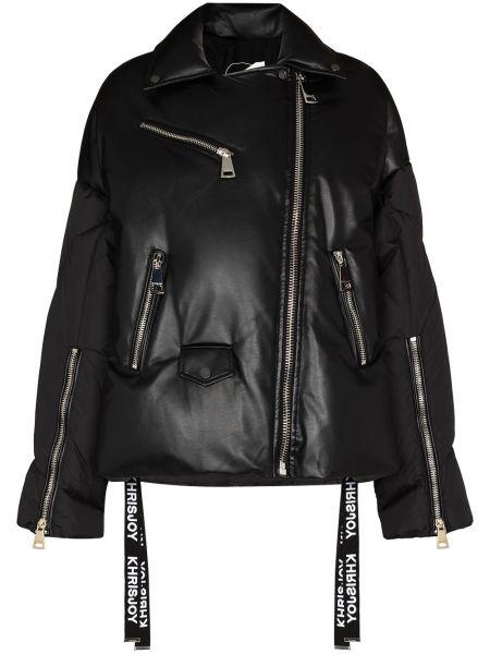 Акриловая черная дутая куртка байкерская с перьями Khrisjoy