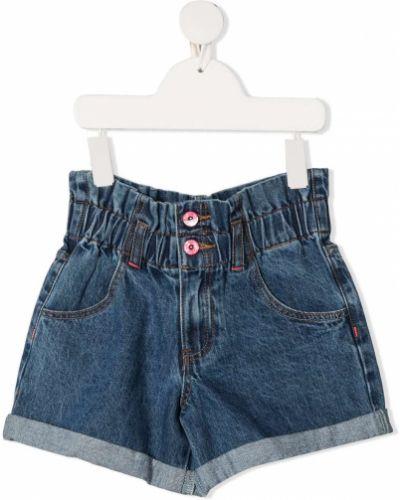 Синие с завышенной талией джинсовые шорты с карманами Billieblush