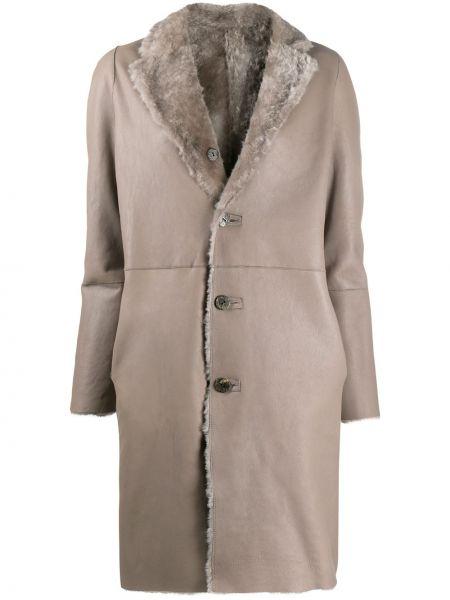 Серое кожаное длинное пальто двустороннее Giorgio Brato