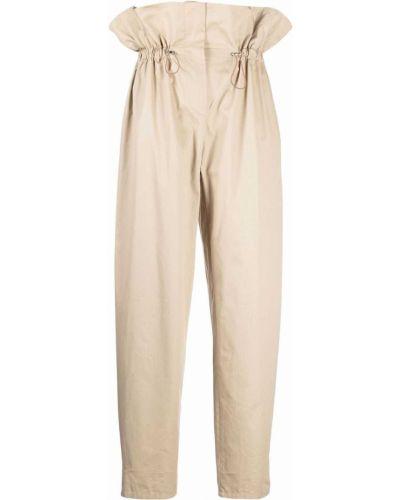Хлопковые прямые бежевые брюки Wandering